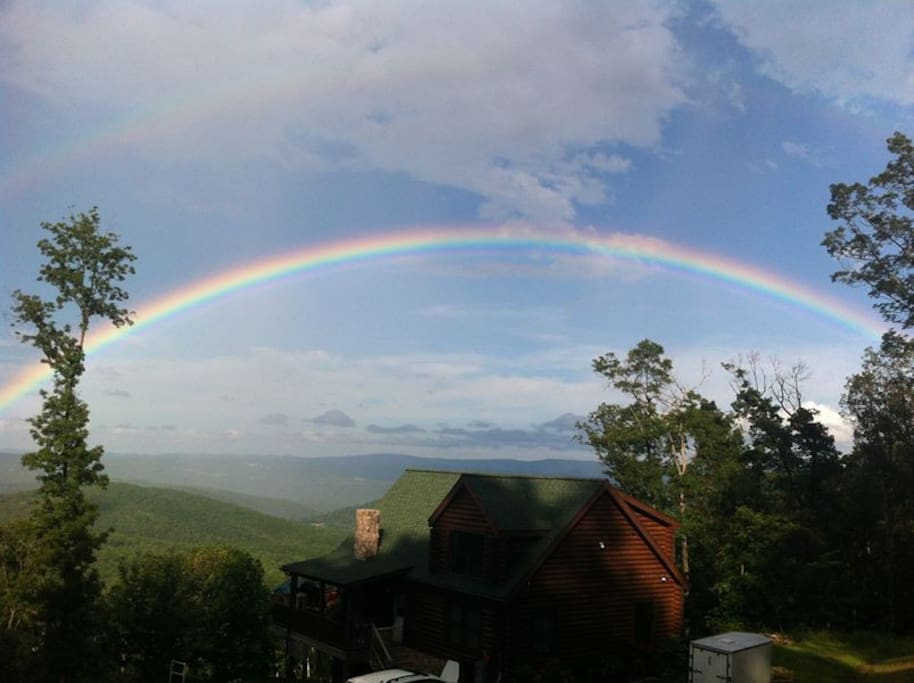 Full rainbow over the valley