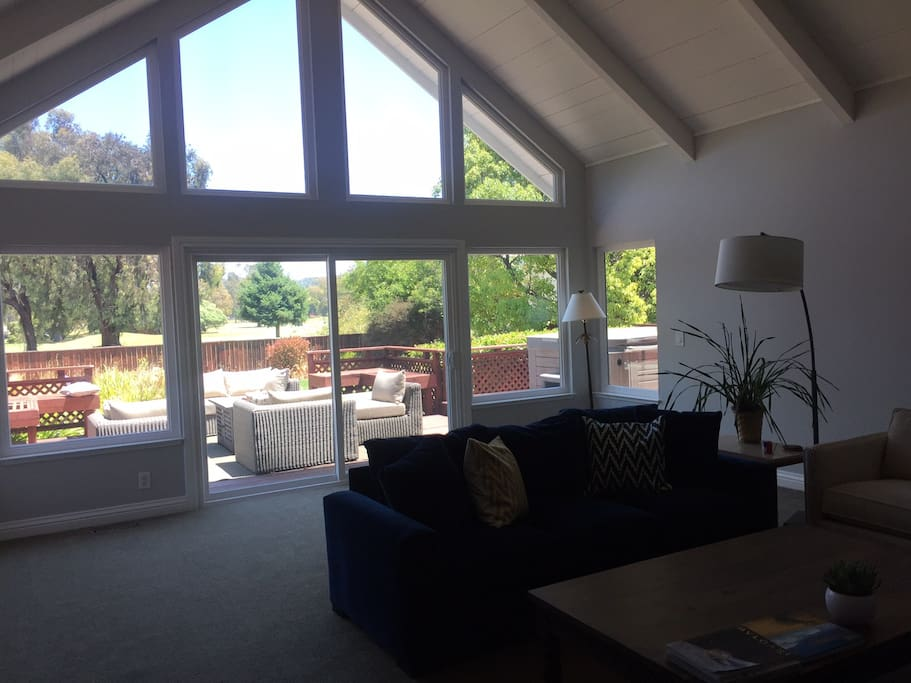 Living Room with view of backyard