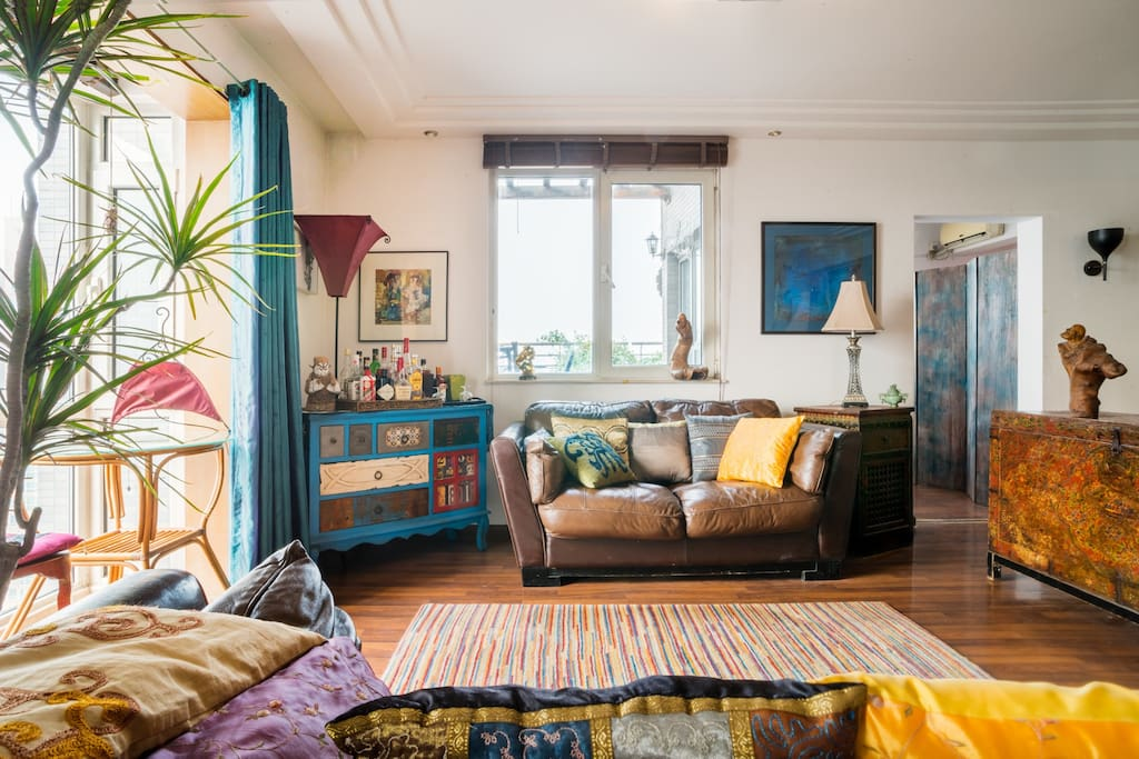 Sunny colorful living room