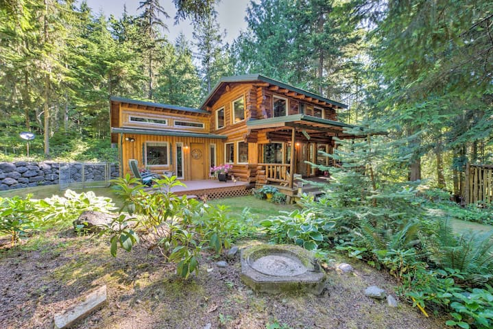 Rustic 3BR Sequim Cabin w/Fire Pit & Forest Views!