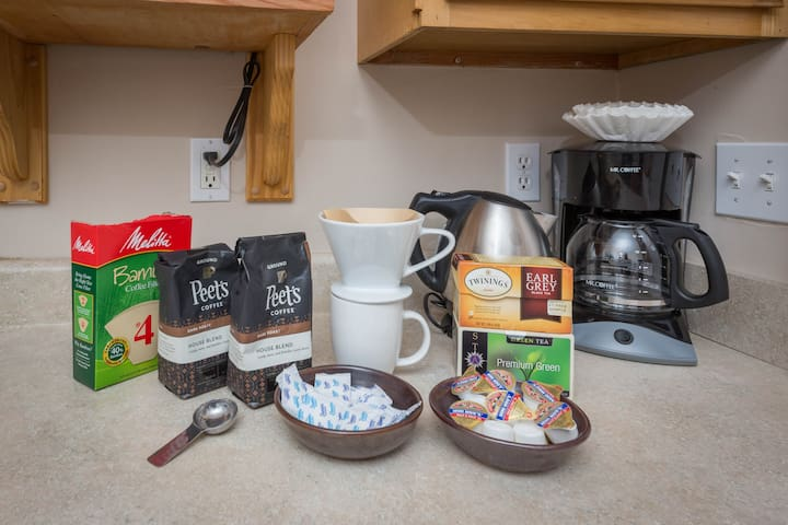 Coffee and drip coffee machine or pour over method.
