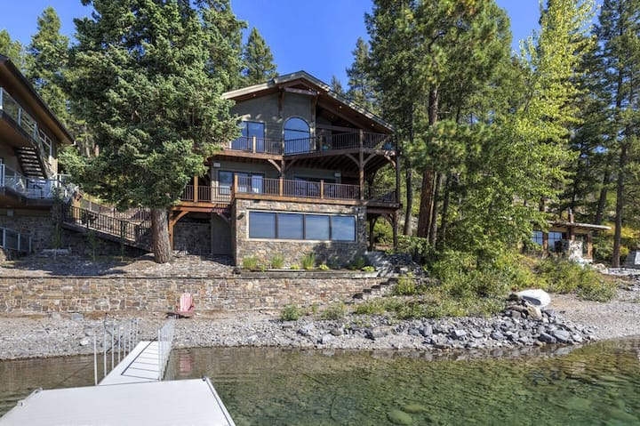 Spectacular Whitefish Lakefront home!! Private dock, paddle boards, kayak and in