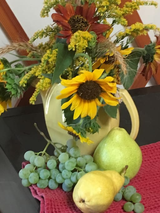 It's in the details! Fresh fruit and flowers harvested this morning awaiting tonight's lucky guests!