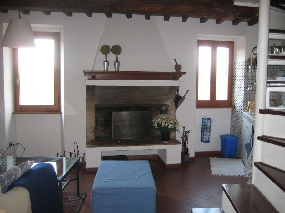 View of the luminous living room with antique fireplace