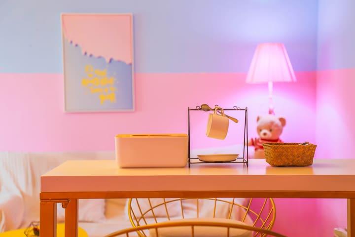 『粉红色的回忆』我家就在花果园购物中心/湿地公园/超大飘窗、2米大熊/拍美美哒照片+空调房