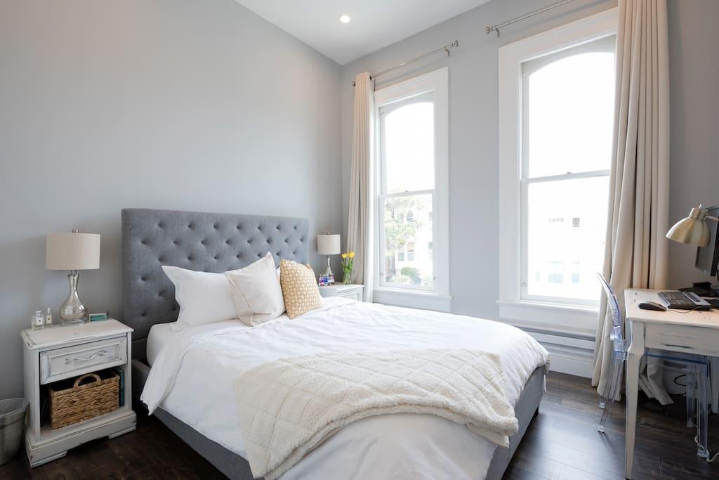 Bright, airy bedroom.