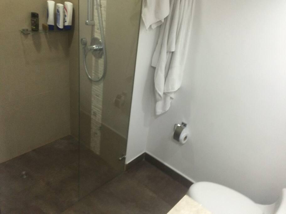 Baño moderno con ducha inteligente