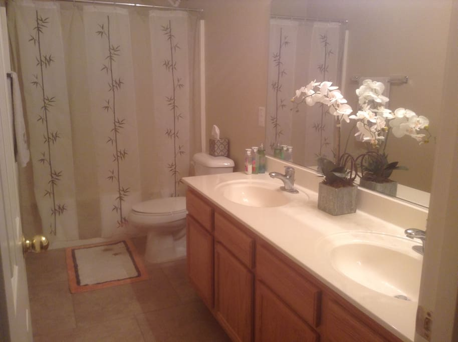 Full tub and shower with 2 double sinks.