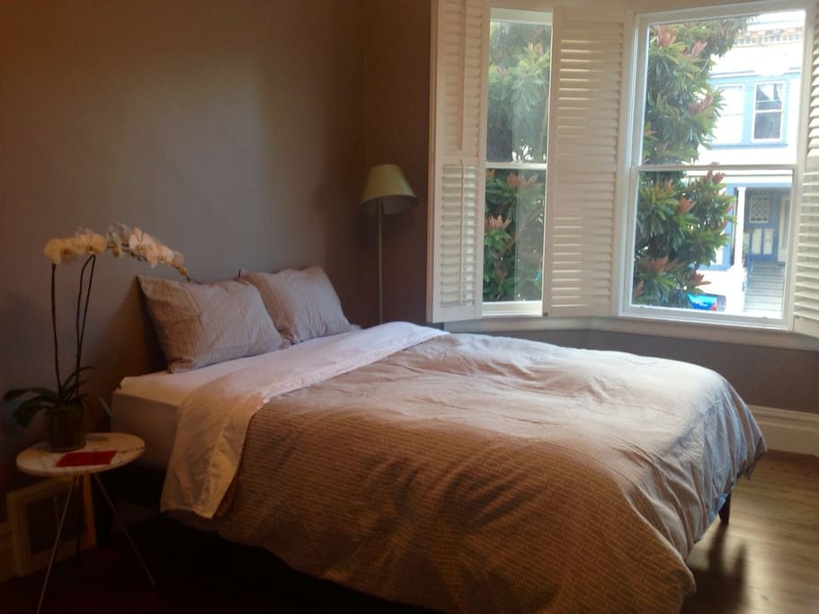 Spacious bedroom with lots of natural light, new queen pillowtop mattress.