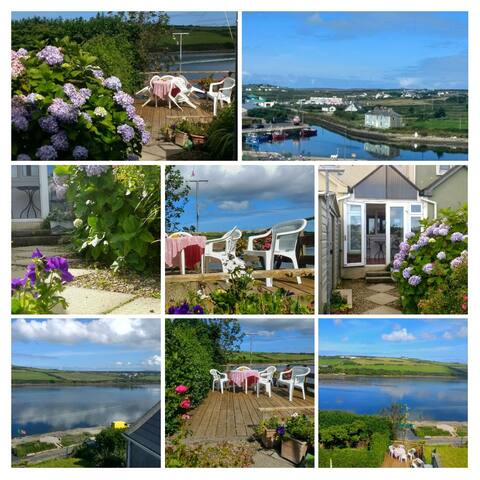 you have the best of both worlds. ..to the front of the house step on to a street of shops ..hotels..pubs and friendly people...at the back of the house sit on the decking and look over the bay on to the peninsula  and the docks....quiet  and relaxing