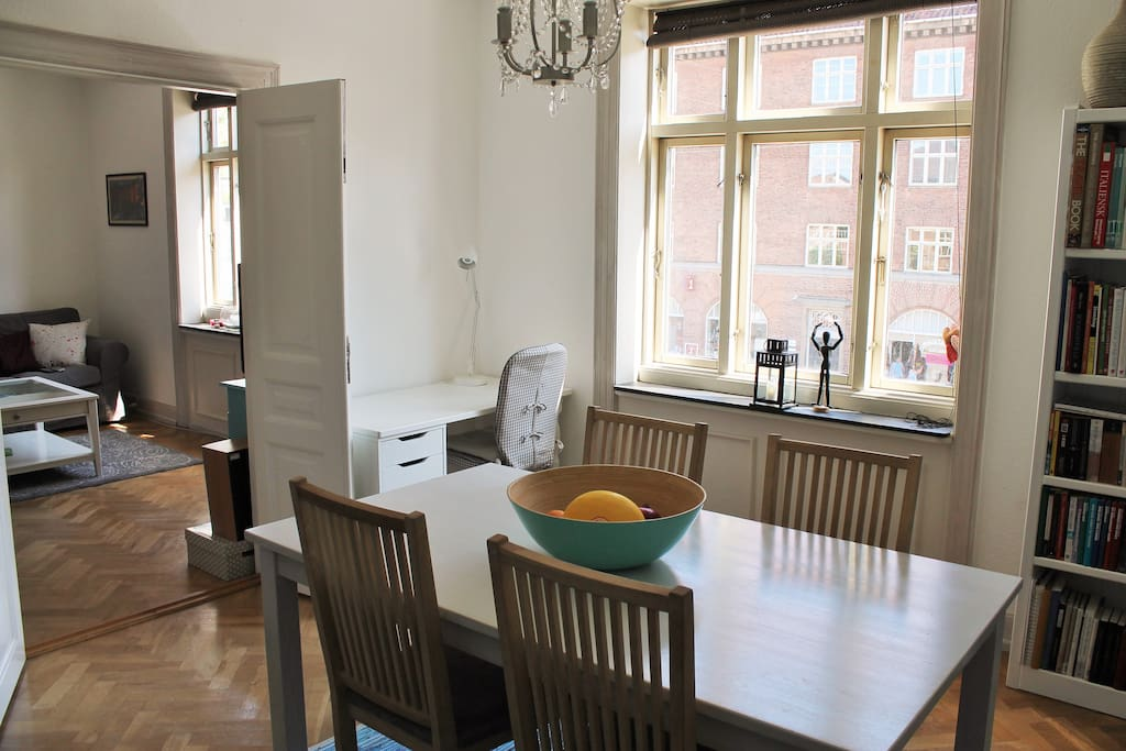 The dining room has a table with 4 chairs, though there are extra in the basement if needed.  There is also a desk and desk chair that can be used.