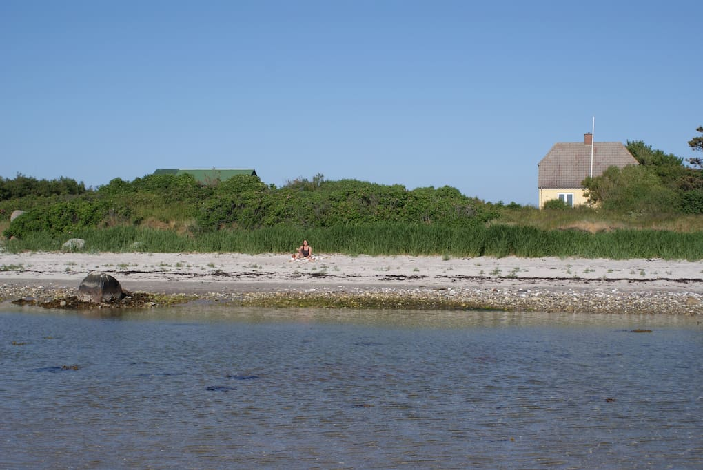 The house seen from the sea. There is a path for bicycling and road for cars between the beach and the house.