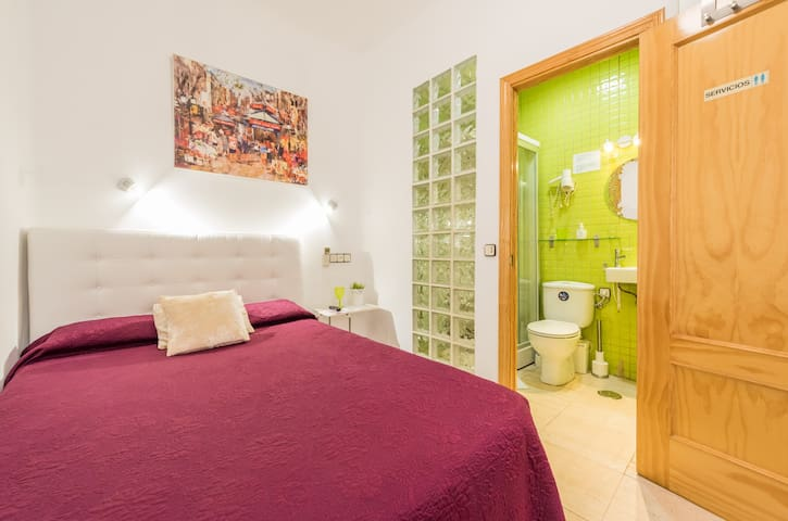 Single room with private bathroom, in Madrid.