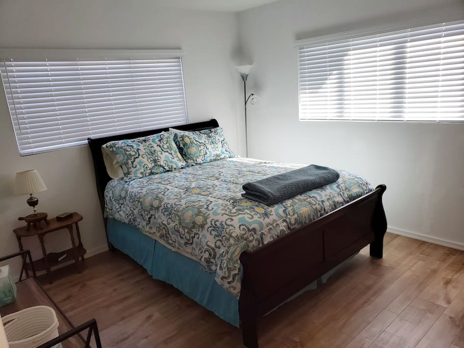 Bedroom #1 with queen-size bed and private  bath.
