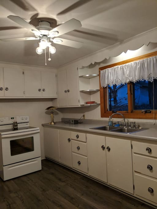 Retro kitchen with stove and refrigerator