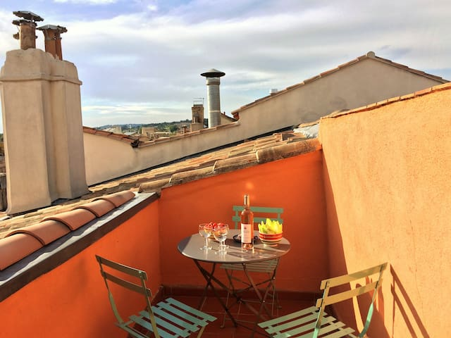 Entre tuiles et tomettes. Terrasse, clim et wifi. - Aix-en-Provence - Daire