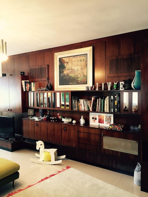 Books, bar, TV