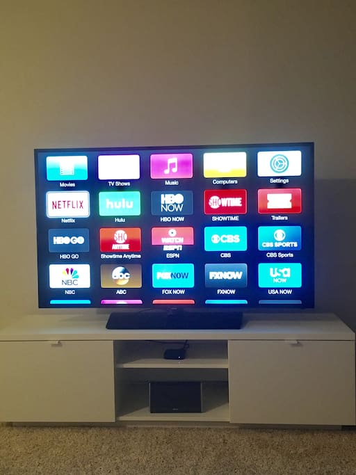 60-inch, with Apple TV, HBO GO, and Netflix