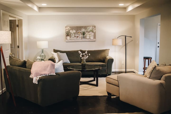 Cozy living room with sleeper queen sofa and  premium memory form mattress.
