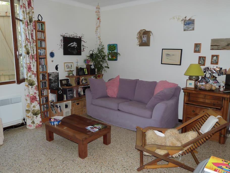 Détail salon : canapé lit 2 places