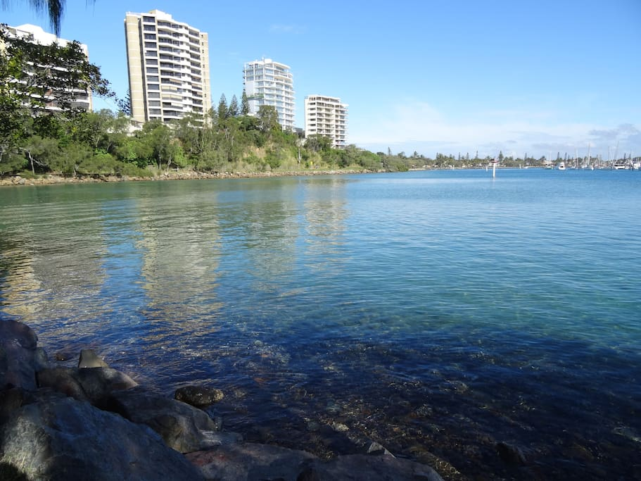 Walking around the river mouth either back home or out to rock wall and around to Point Cartwright - Magical Walk