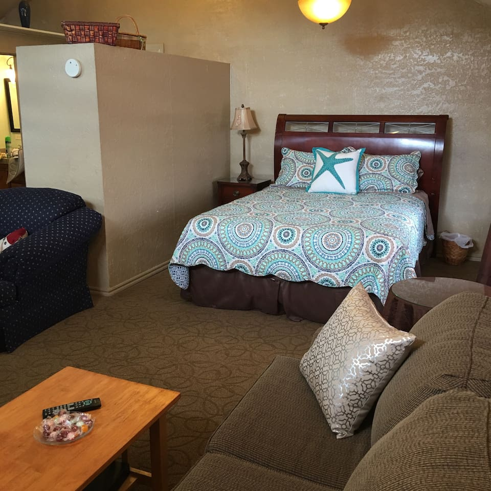 The open Suite of the Roadrunner, sleeps 5-7. But it's best with only two people.
