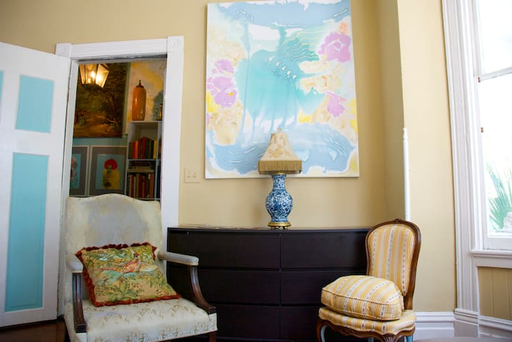 Period antiques add charm to the interior.
