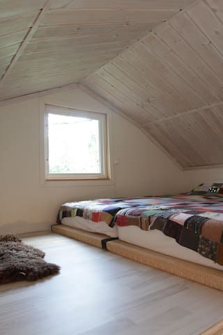 Wake up with the sun peaking through the loft window