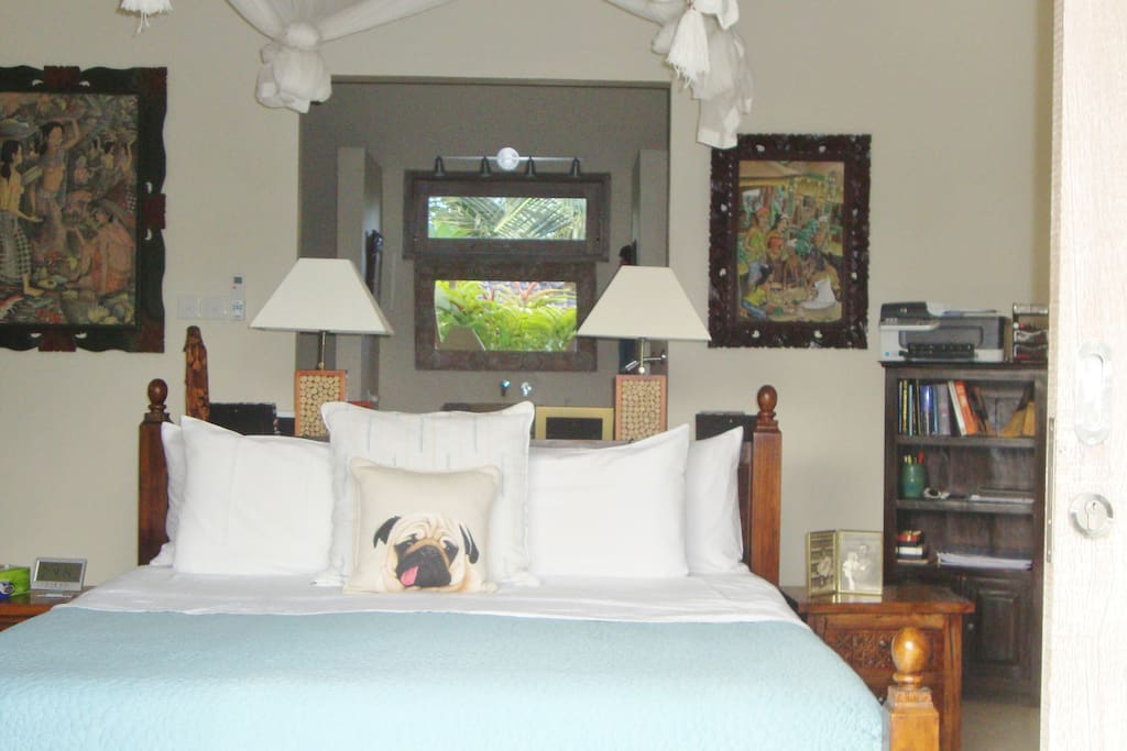 Bedroom with Balinese Artwork