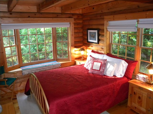 First-floor master has queen bed, lake view, bathroom access and walk-in closet