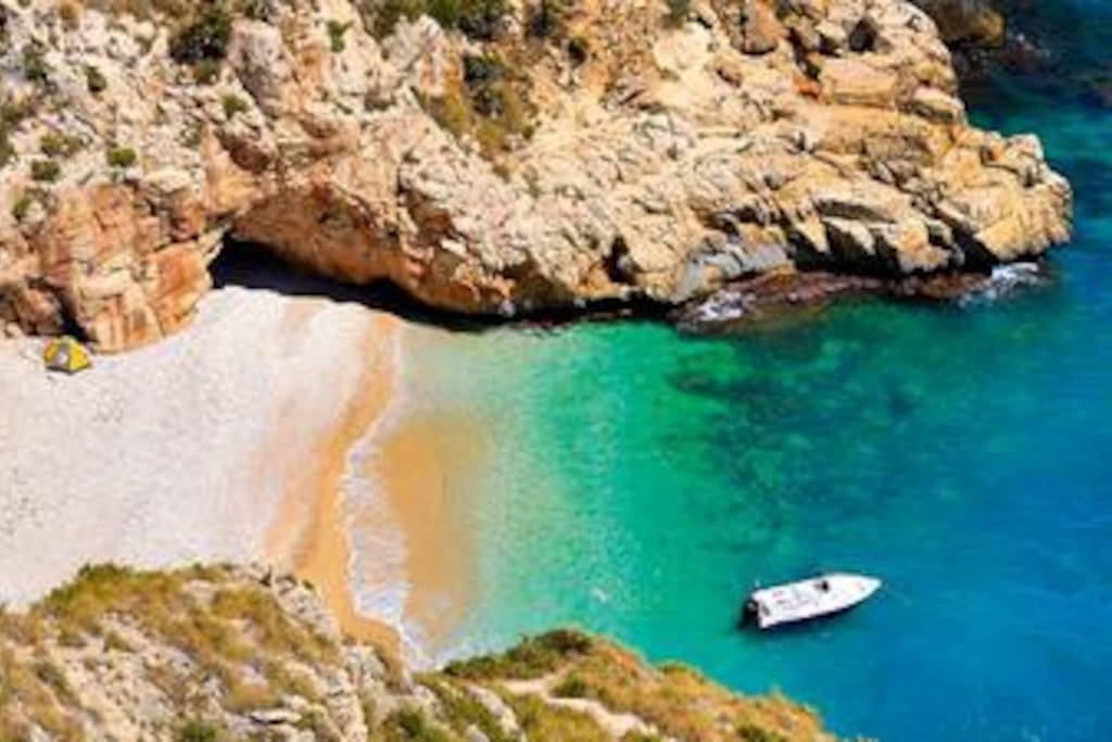 This secluded beach is just 10 mins from the apartment.