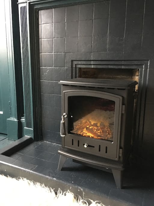 Electric fire that looks like a log burning stove keeps the room toasty along with central heating.
