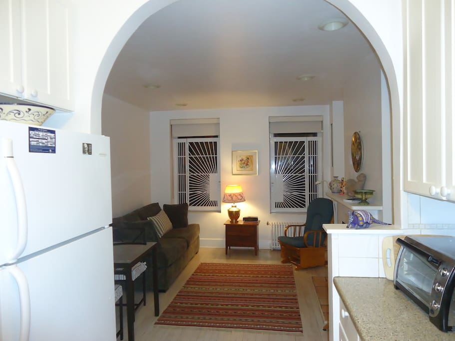 Kitchen arch into living room