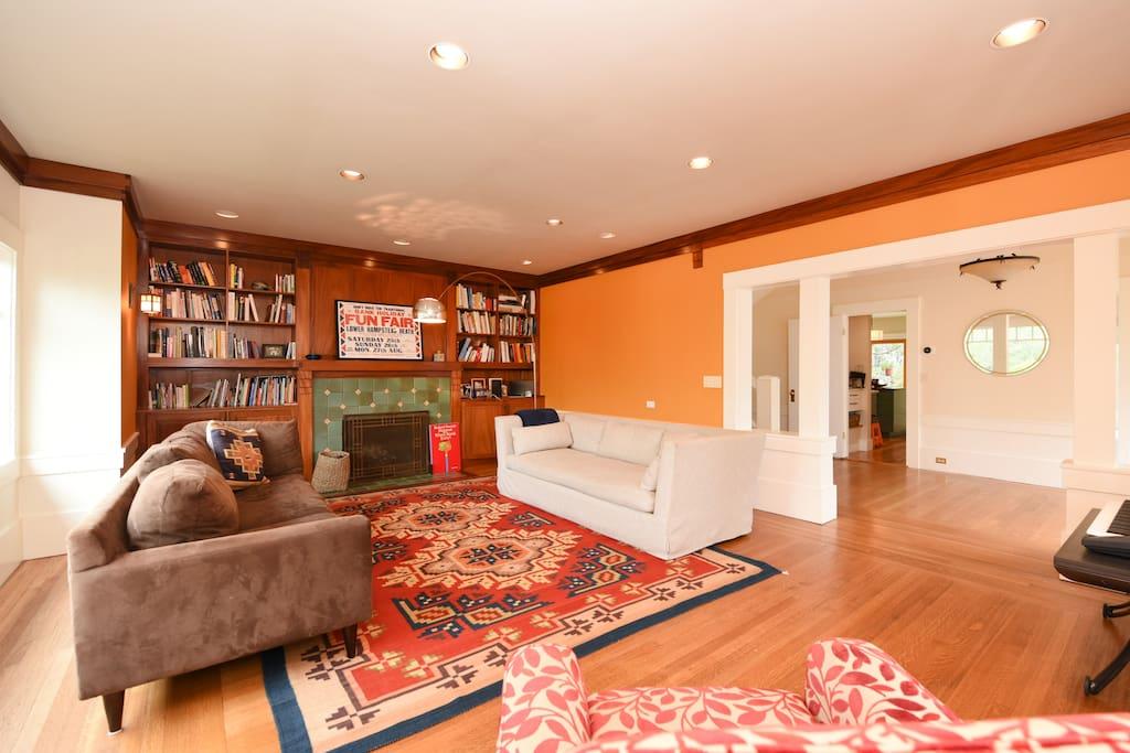Living room looking into entryway