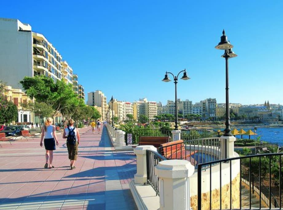 Amazing Sliema promenade just one minute away