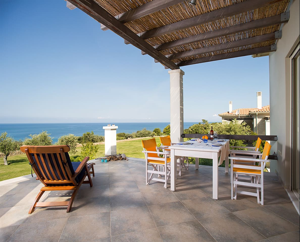 front terrace with panoramic view of the Ionian Sea