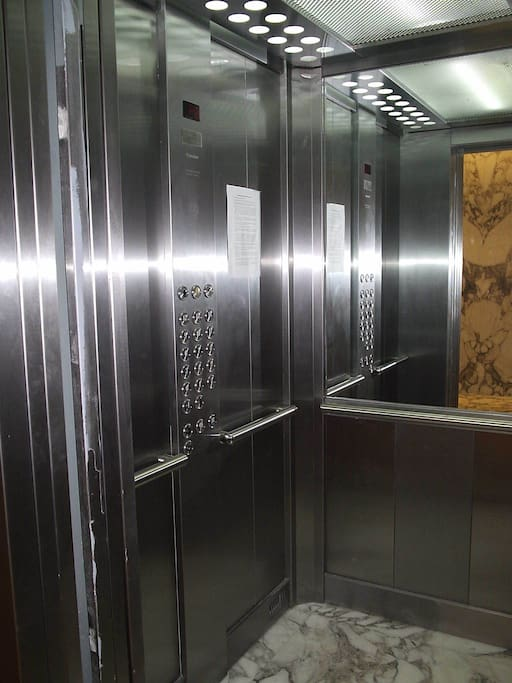 One of the two elevators