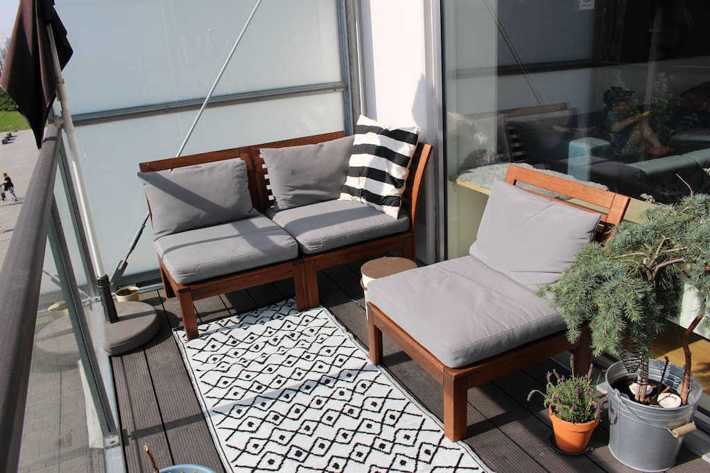 Sunny private balcony