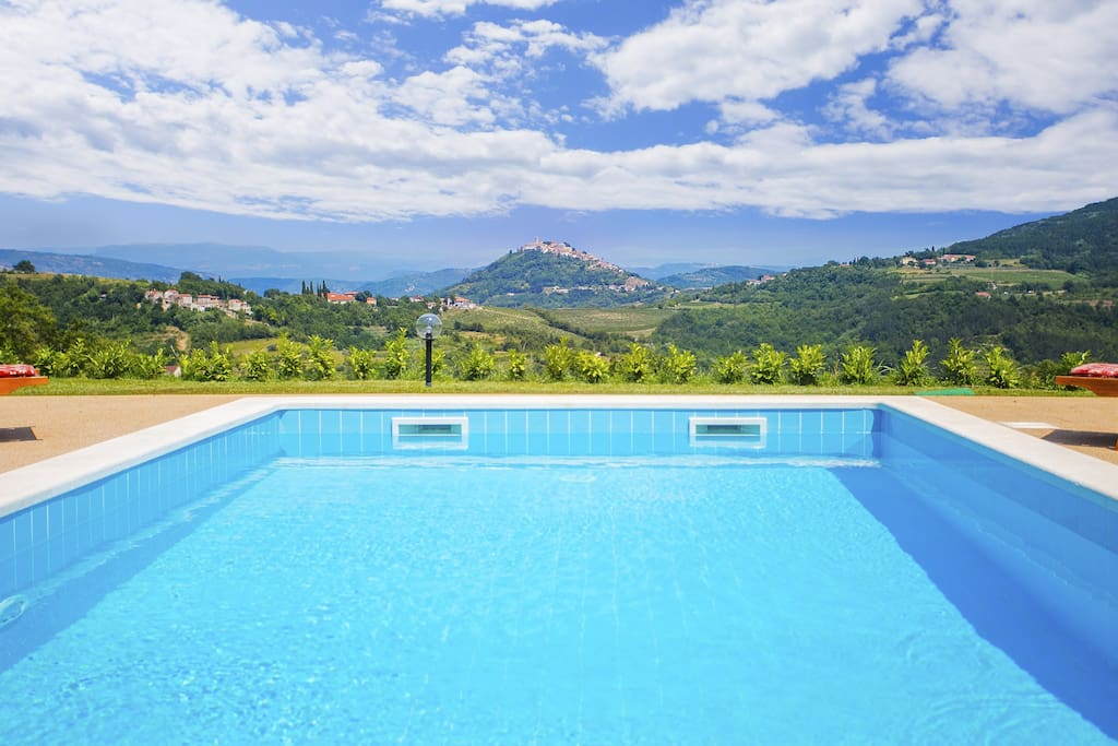 View at the Motovun from the swimming pool
