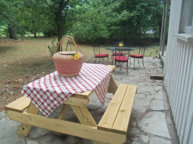 Backyard seating for picnics and evening parties