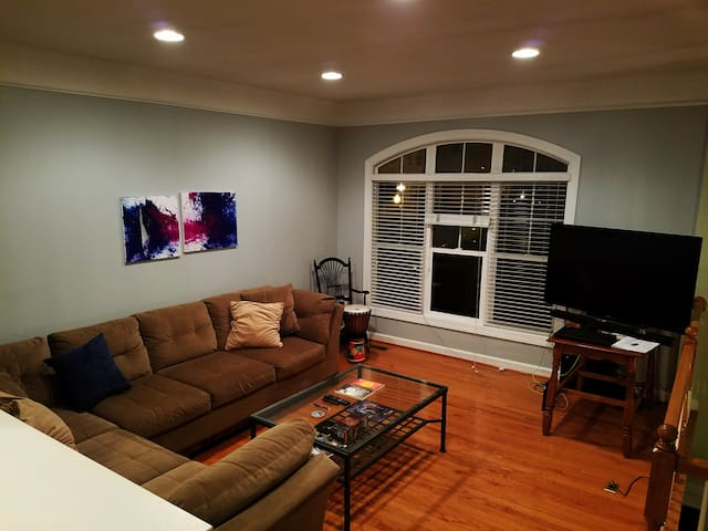 """Social area with  a 55"""" 4 k smart TV with Netflix and Chromecast"""