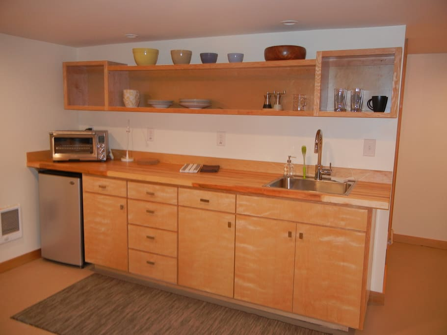 Custom kitchenette with induction cooktop, electric skillet and Breville smart oven.