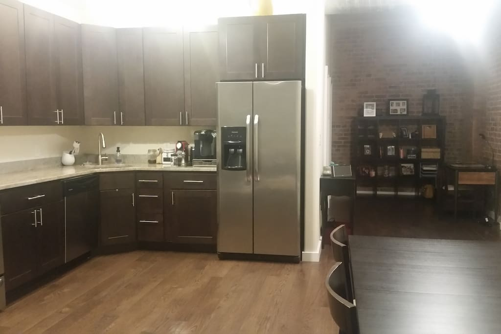 Open floor plan easily accommodates additional air mattresses as needed.  Garbage disposal and dishwasher also included