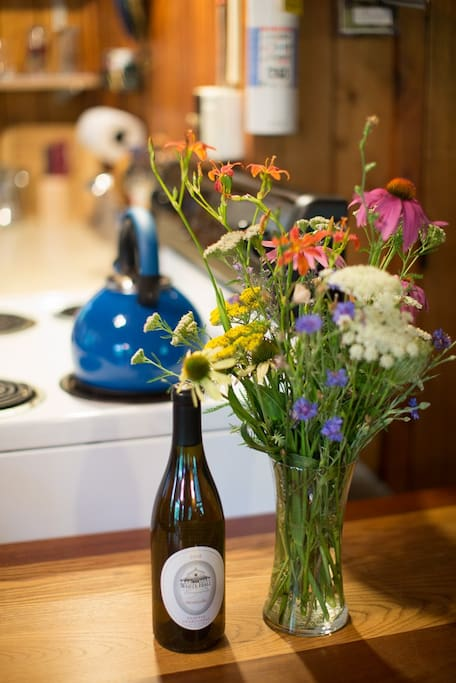 Organic flowers and local wine available for an additional price