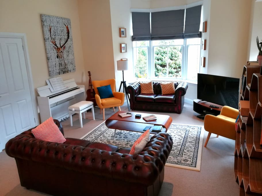 Large bay window and open plan living area