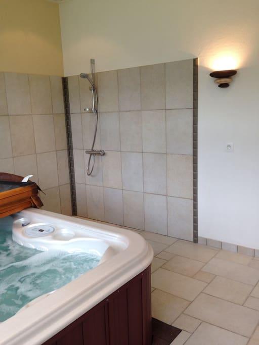 Salle de spa avec douche