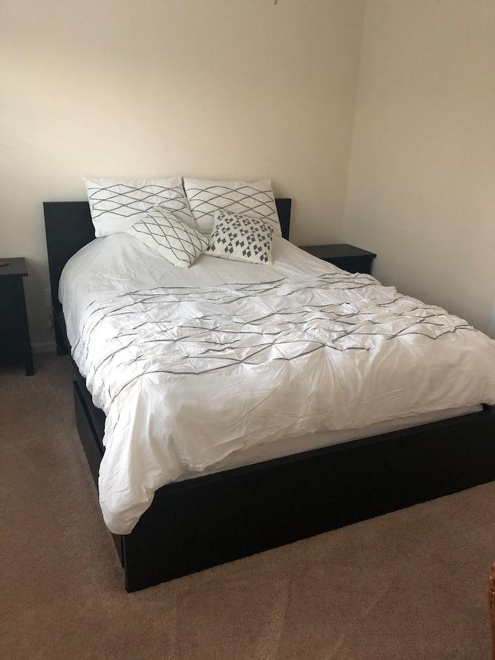 Quiet and cozy bedroom with plenty of sunshine