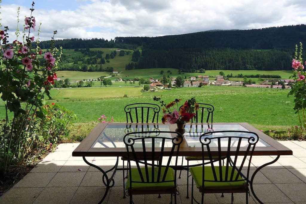 La terrasse sans vis à vis avec une magnifique vue.
