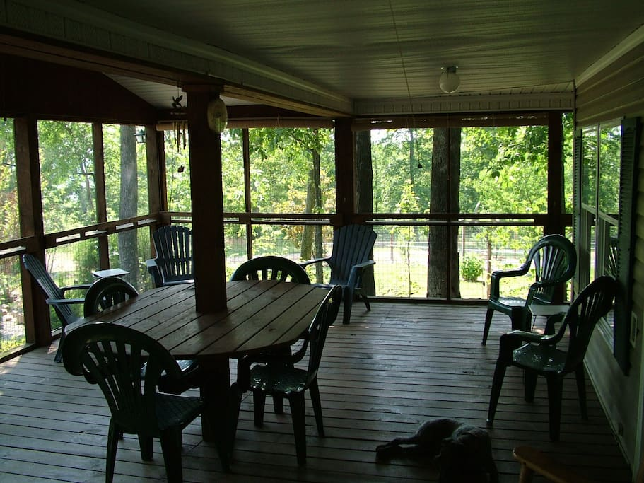 Screened in porch 40 by 16 for lots on outdoor eating and lounging.