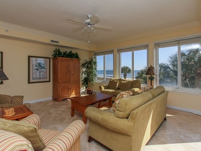 Living Room with New Furniture in 2018 Offers Ocean Views at 3203 Sea Crest